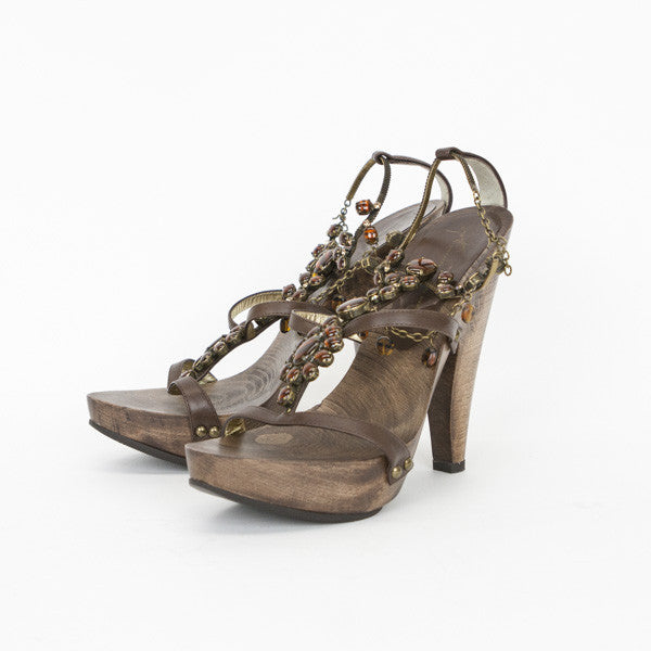 Giuseppe Brown Wooden Heels With Platforms