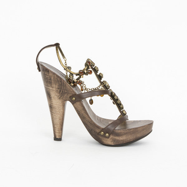 Giuseppe Brown Wooden Heels