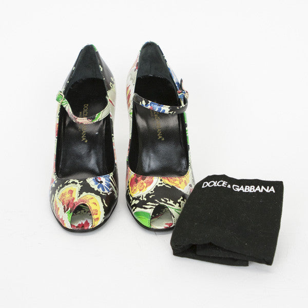 Dolce & Gabbana Multi-Colored Floral Print Leather Pumps With Dust Bag Included