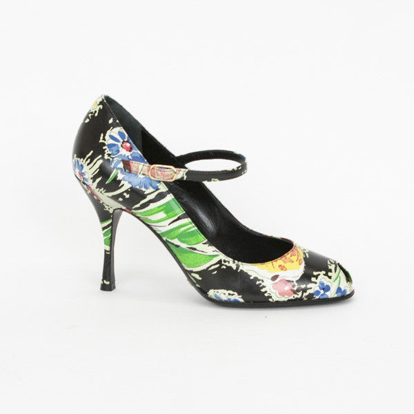 Dolce & Gabbana Multi-Colored Floral Print Leather Pumps With Ankle Straps