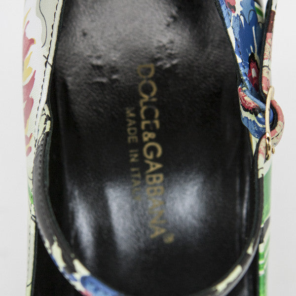 Dolce & Gabbana Multi-Colored Floral Print Leather Pumps With Branded Insole