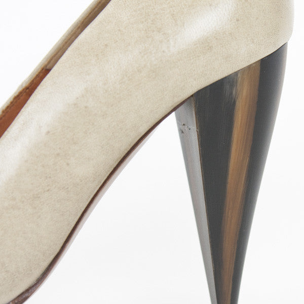 Beige Leather Pumps With Wooden Platform & Cone Shaped Heel