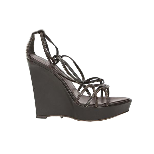 YSL | Brown Leather Strappy Platform Wedges