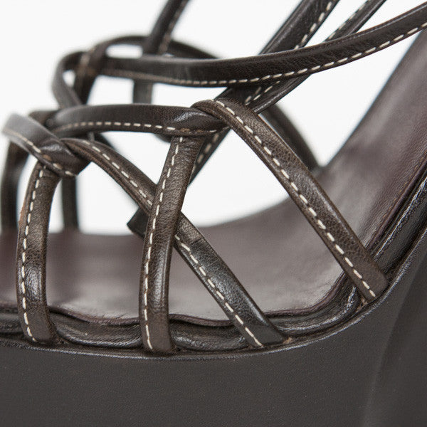 Ysl Brown Leather Strappy Platform Wedges