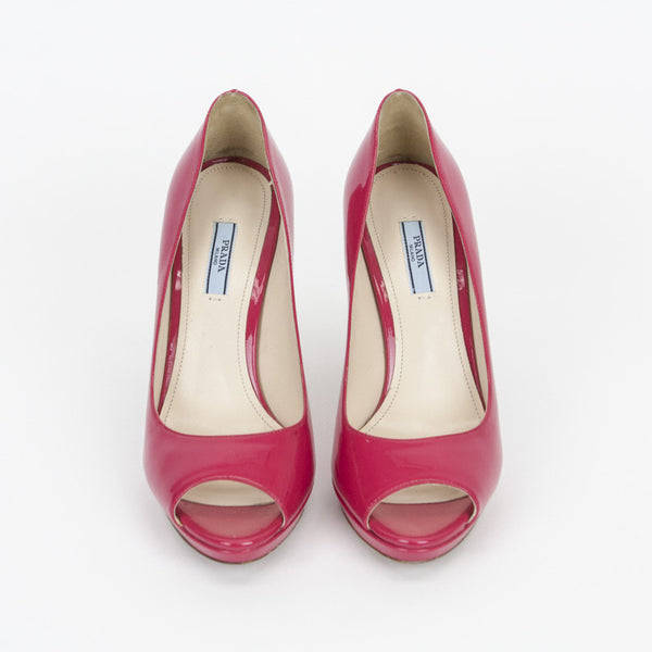Prada fuchsia high heels with peep toe