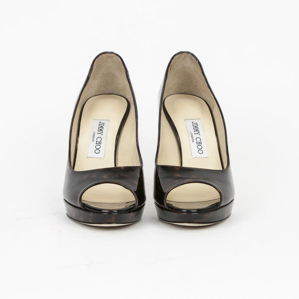 Jimmy Choo animal patent leather heels with almond peep toes