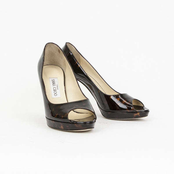 Jimmy Choo animal patent leather heels made in Italy