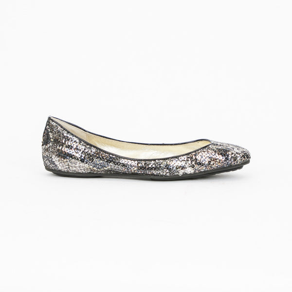 Jimmy Choo Metallic Snakeskin Sequined Flats  With Black Leather Trim