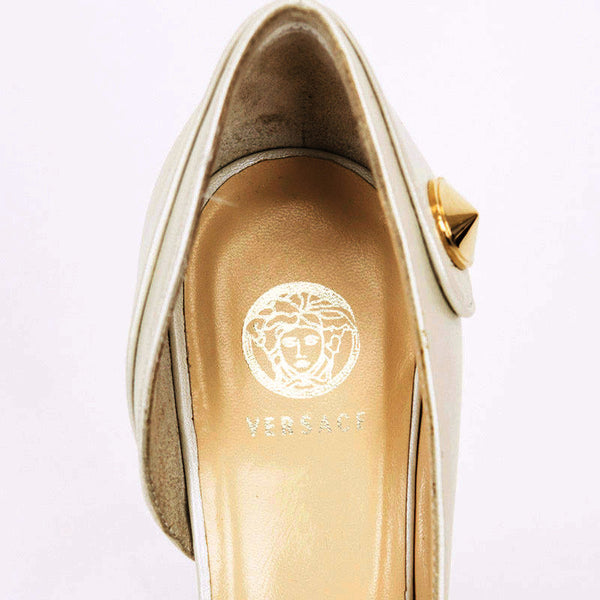 Versace logo is embossed on the heel of the insole.