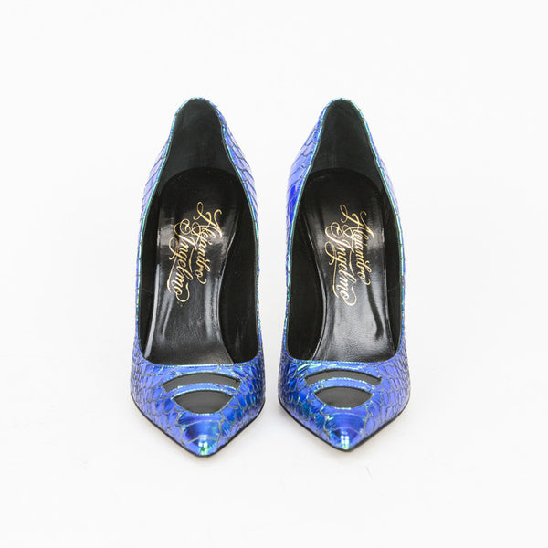 Alejandro Ingelmo, slip-on iridescent blue-green TRON leather pumps with pointed toes