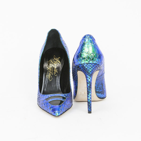 Alejandro Ingelmo Iridescent TRON Leather Pumps With A 4 1/4 Inch Covered Heel