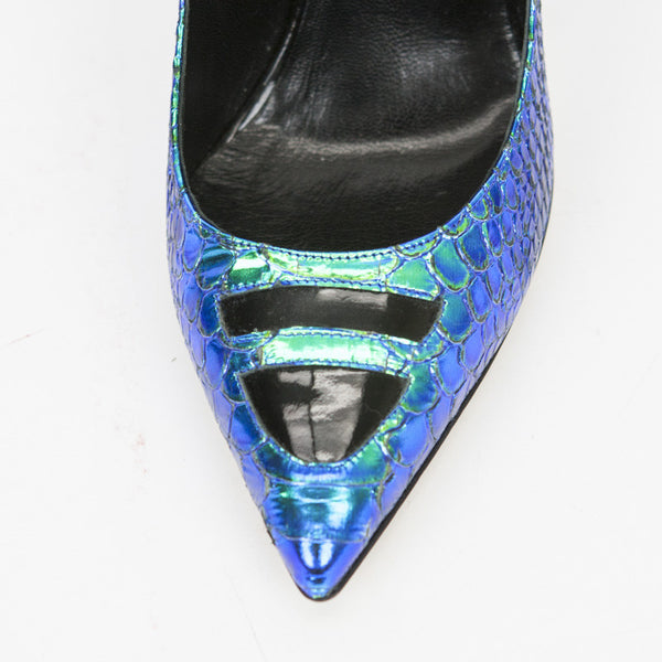 Alejandro Ingelmo, slip-on iridescent blue-green TRON leather pumps with pointed toes and black geometric patent leather cutout accents at vamp