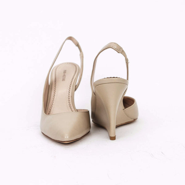 Pour la Victoire Beige Maira Slingback Wedges With Pointed Toes