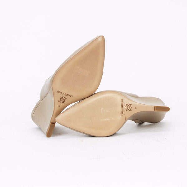 Pour la Victoire Beige Maira Slingback Wedges With Leather Soles