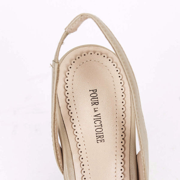 Pour la Victoire Beige Maira Slingback Wedges With Designer Name Embossed On Insoles