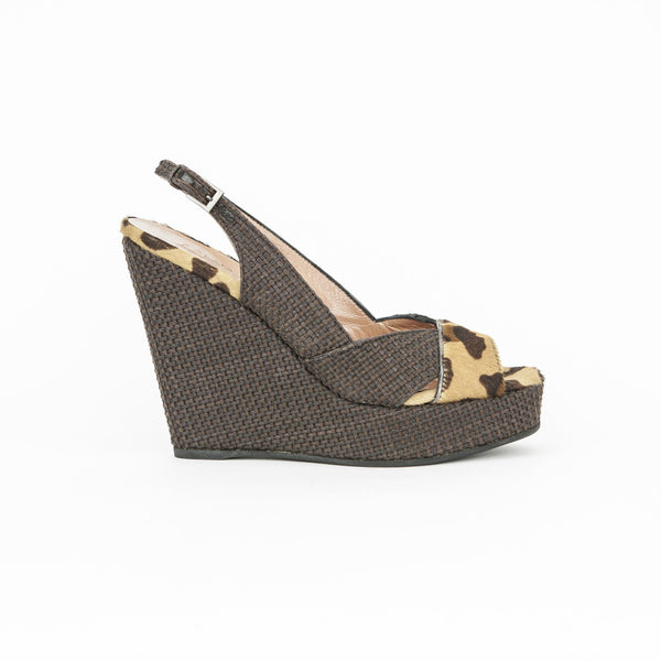 Alaia brown woven wedges with leopard print pony hair
