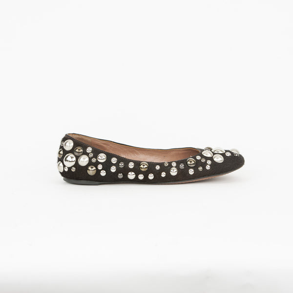 Alaia brown studded pony hair flats