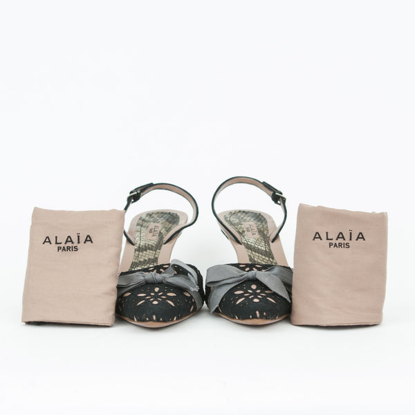 Alaia mauve mid heels with black lace with dust bags included