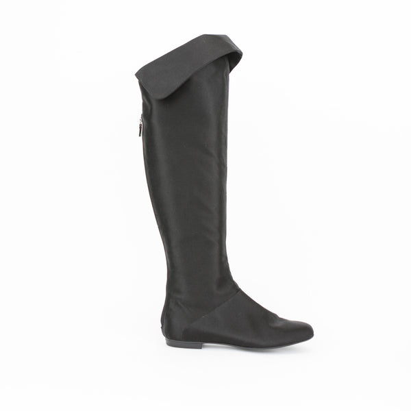Alberta Ferretti black satin knee high boots