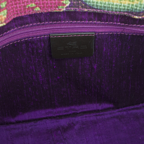 Small Etro tote with lined in purple fabric with interior zip pocket