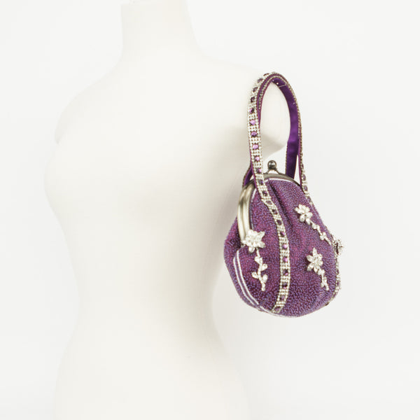 Terri Moore Vintage Purple Beaded Cocktail Handbag