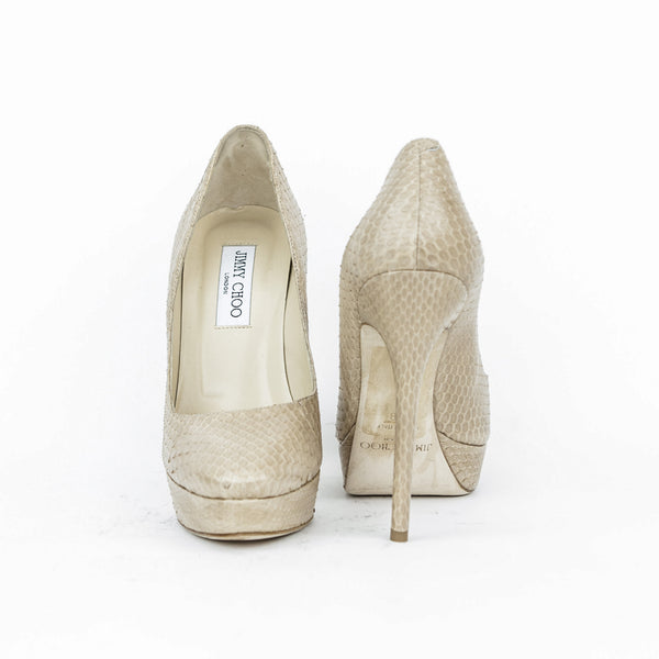 Beige leather stiletto from Jimmy Choo has a snakeskin look throughout with covered heels and platforms.