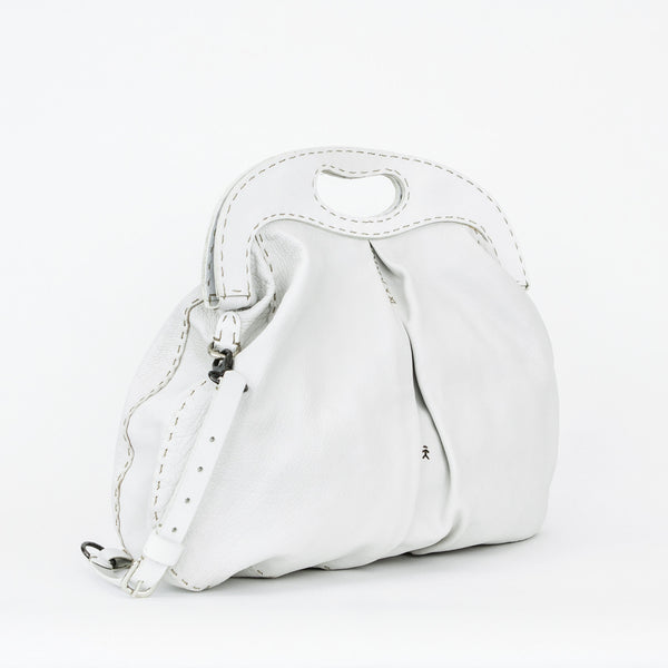 Henry Beguelin white leather tote with leather frame and magnetic closure
