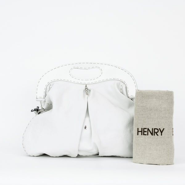 Henry Beguelin white leather handbag with dust bag