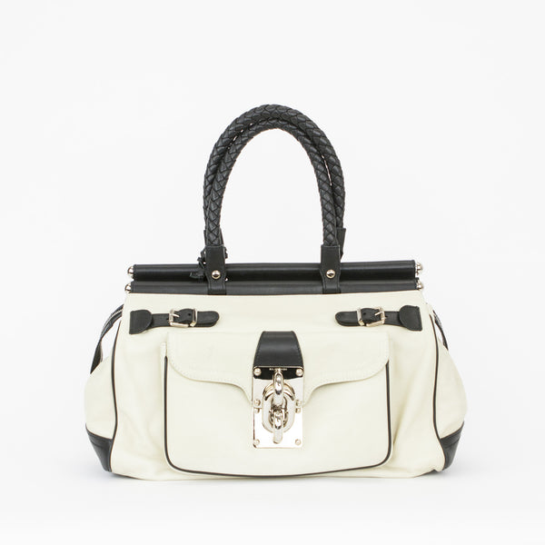 Balenciaga | Cream & Black Leather Doctors Shoulder Bag
