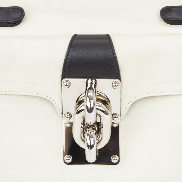 Balenciaga Cream & Black Leather Doctors Shoulder Bag With A Magnetic Twist Lock On Front Pocket