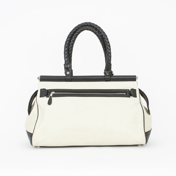 Balenciaga Cream & Black Leather Doctors Shoulder Bag With 2 Exterior Pockets