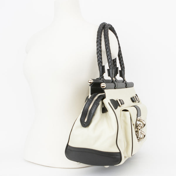 Balenciaga Cream & Black Leather Doctors Shoulder Bag With Top Zip Closure