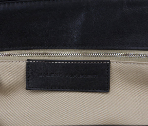 Balenciaga Cream & Black Leather Doctors Shoulder Bag