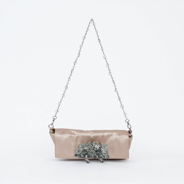 Cocktail Handbag from Prada with crystal clusters on flap front with removable chain and crystal shoulder strap.