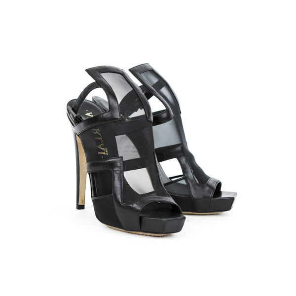 Aperlai Black Mesh High Heels