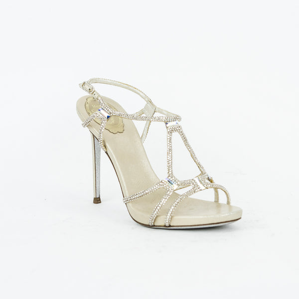 Rene Caovilla Metallic Crystal Gladiator Sandals
