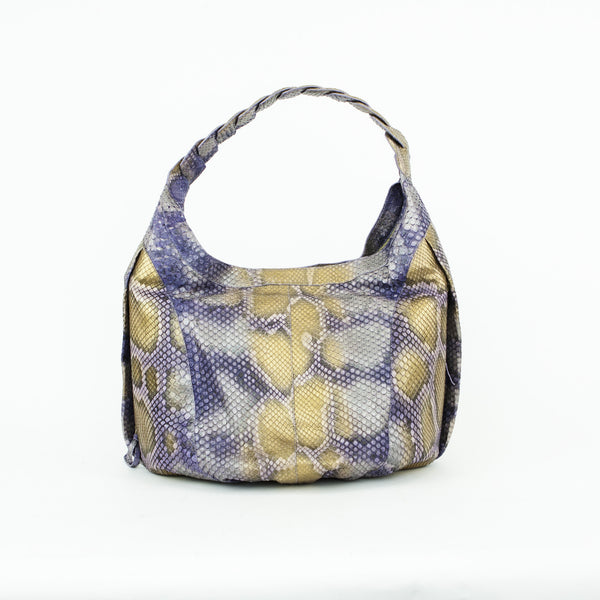 Nancy Gonzalez python open top hobo handbag with concealed magnetic closure, two hidden exterior side pockets with zippers, and a braided handle.