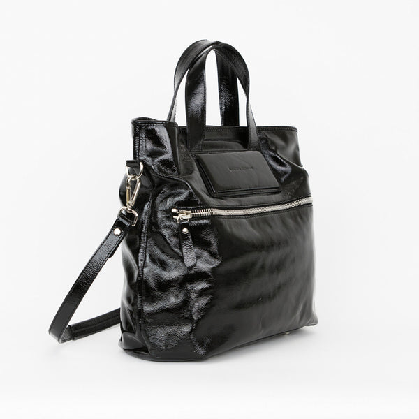 Sigerson Morrison Black Patent Leather Tote With Dual handles and Detachable Shoulder Strap