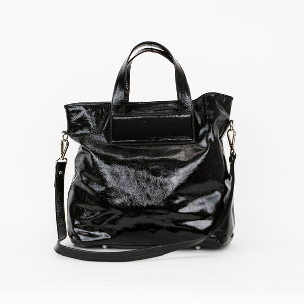 Sigerson Morrison Black Patent Leather Tote With Dual handles and Detachable Shoulder Strap & Exterior Pockets
