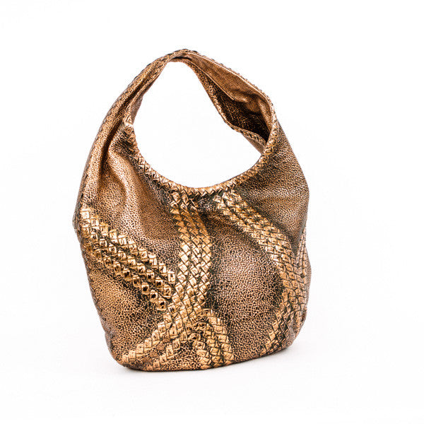 Copper Bottega Veneta deerskin leather hobo handbag with woven detail, open top with hidden magnetic closure, and suede interior.