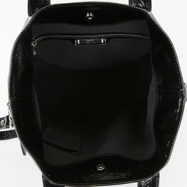 Sigerson Morrison Black Patent Leather Tote With Dual handles and Detachable Shoulder Strap With Interior Pockets