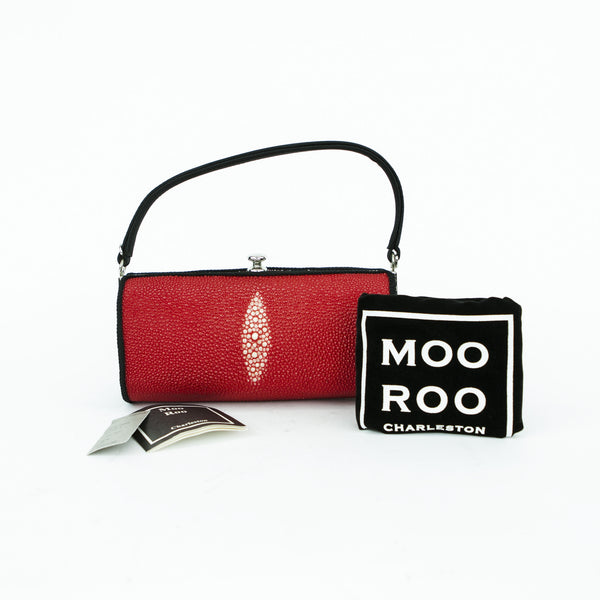 Moo Roo Charleston stingray cocktail handbag with braided rope trim, satin handle, clasp closure, and sterling silver hardware.