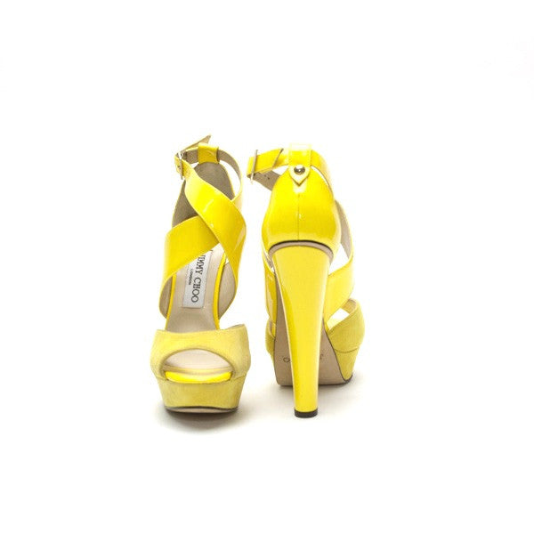 Jimmy Choo Fiery Yellow Patent Leather Criss Cross Ankle Strap