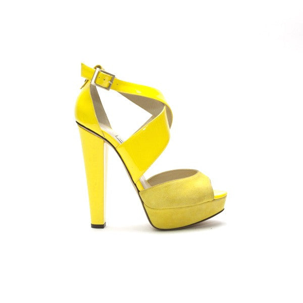 Jimmy Choo Fiery Yellow Patent And Suede Heel