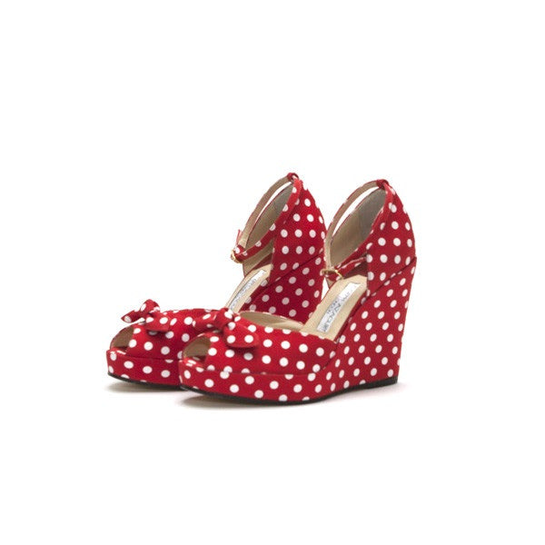 Joseph Azagury Cloth Polka Dots Red White Wedge Ankle Strap