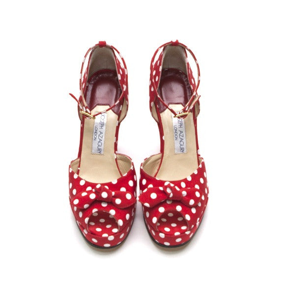 Joseph Azagury Cloth Polka Dots Peep Toe
