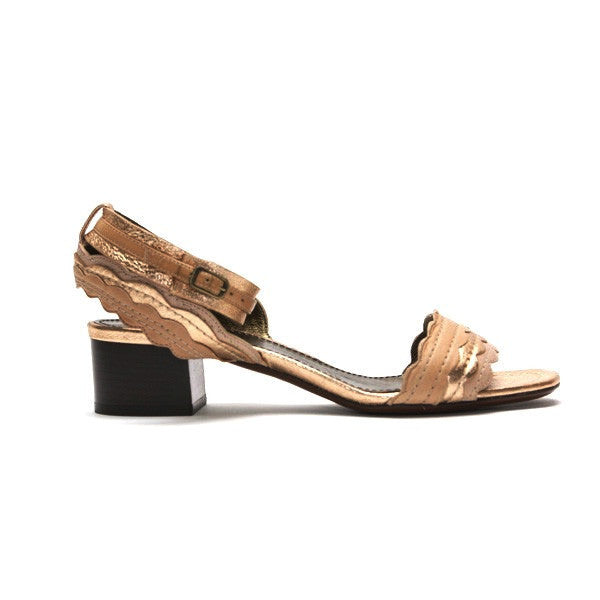 Lanvin Copper Leather Heels