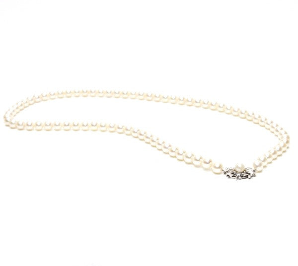 Majorica Pearl Neckalce With White Gold Clasp With Pave Diamonds