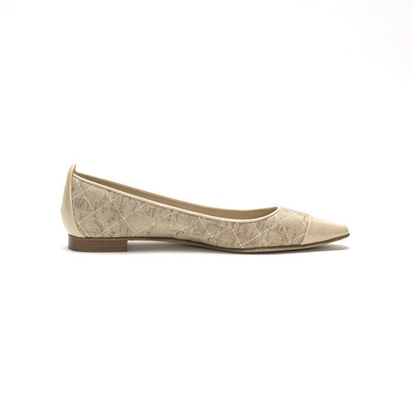 Manolo Blahnik Giunglaca Quilted Cork Ballerina Flats with Stop Topstitching