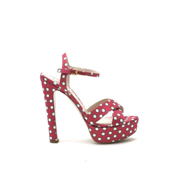 Miu Miu Watermelon Polka Dot Pumps with Block Heel